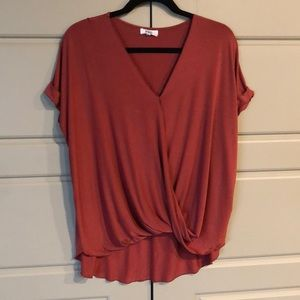 PIKO T-shirt high low with faux wrap look